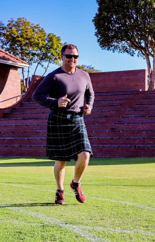 One of the Kilted runners taking to the Kilted run in St Andrew's College, Grahamstown.