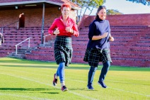 Two of the ladies that completed the kilted mile on Saturday 22 September, Sally Price-Smith (left) and Marion Taylor.