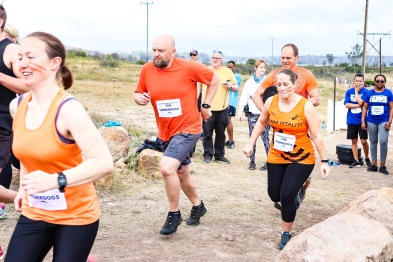 Team Underdogs start their obstacle course run as part of the Grahamstown Games.