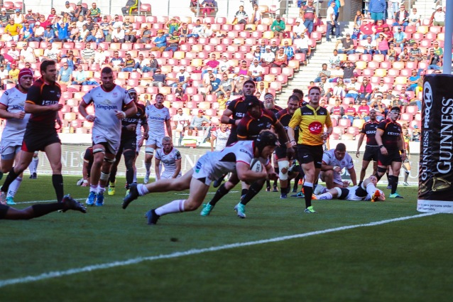 Angus Curtis dives over the line for Ulster's third try against the Kings on the stroke of full time.