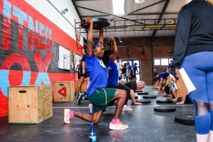 One of the many competitors at the Grahamstown Games taking on the challenge of the bootcamp workout.