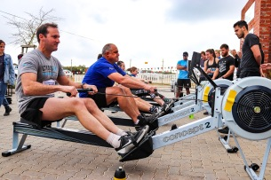 Teams gear up for an intense session of Ergo Rows as part of the Grahamstown Games.