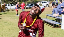 The GBS Mountain Drive celebrity ambassador, Tsepiso Nzayo, with his usual big smile and personality after finishing the race