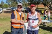 GBS Mutual Bank's Anton Vorster congratulates Comrades Marathon legend, Alan Robb, on finishing the GBS Mountain Drive Half Marathon