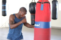 Mziwoxolo Ndwayana practicing his punches at the gym after winning the SA Welterweight championship last month.