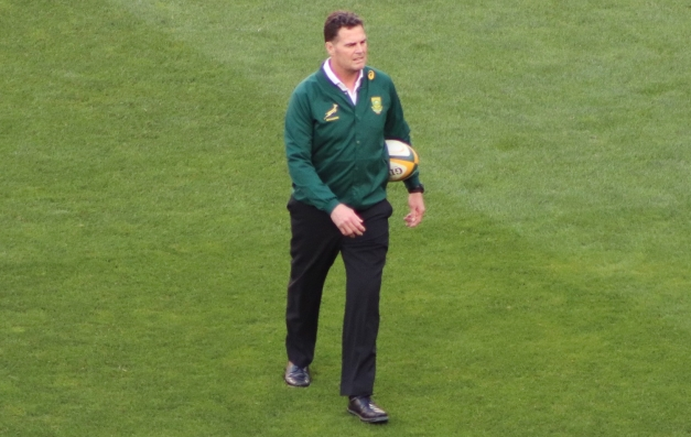 Springbok head coach, Rassie Erasmus, leads the Springboks through their warm-up routine before their Rugby Championship match against Australia in 2018. Photo: Stephen Kisbey-Green