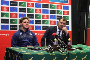 Australian captain, Michael Hooper (left), and head coach Michael Cheika address the media after their Rugby Championship encounter with the Springboks in Port Elizabeth in 2018. Photo: Stephen Kisbey-Green