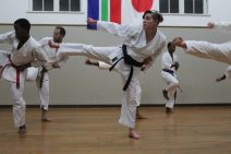 Maureen de Jager showing off her near-perfect kata while at training at the Hill St Masonic Hall dojo.