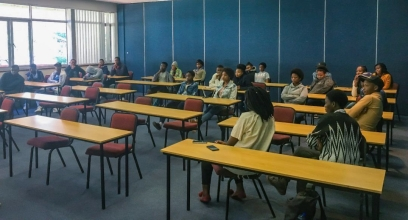 Inkululeko learners paying complete attention to the speaker at the leadership day in Eden Grove.