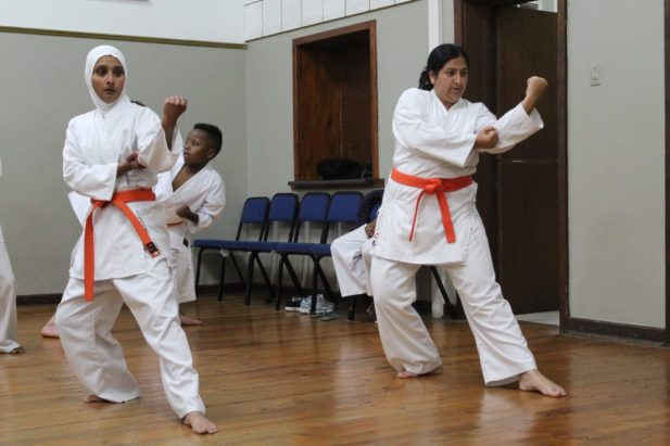 Zarina Syed Cassim (left) and Shehnaaz Asmal-Motara practicing their Kata (form) at the weekly training in the Hill Street Masonic Centre
