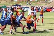 One of the powerful forwards from the Vergenoeg Eagles making a run against the Vukani Stallions. Photo: Stephen Kisbey-Green