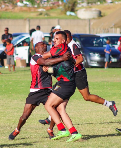 There were some massive collisions at the Fabian Juries Community Fun Day, including this one in the match between the Tyantyi Rangers and the Six SAI Leopards. Photo: Stephen Kisbey-Green