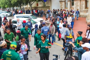 The Gift of the Givers handed out a truck load of water to the members of the community that had gathered around City Hall on Tuesday 12 February. The remainder of the water in the trucks that came though from Port Elizabeth will be delivered on Wednesday 13 February. Photo: Stephen Kisbey-Green