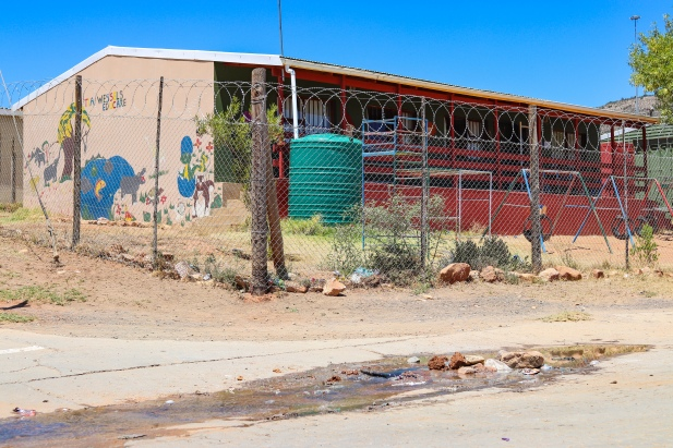 Raw sewage is spilling out onto the street, right in front of the local crèche in Alicedale. Photo: Stephen Kisbey-Green
