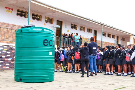 Mary Waters' students, through the Enke Make your Mark and Ikamva Youth programmes, have managed to raise the funds to bring a rainwater tank to their school, in response to the Eastern Cape Water crisis. Photo: Stephen Kisbey-Green