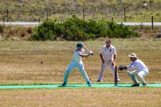 Daniel Berndt negotiates a change of pace on his way to his 97 runs for the Rhodes SHrews against Manley Flats. Photo: Stephen Kisbey-Green