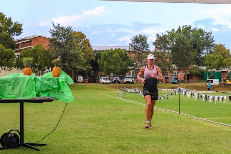 Terri-Lyn Penney crosses the finish line of the Makana Brick Nite Race. Photo: Stephen Kisbey-Green
