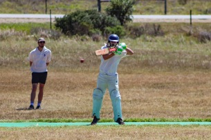 Sean McQuillan plays a cut shot during the Shrews versus Manley Flats Game at Bushman's field. Photo: Stephen Kisbey-Green