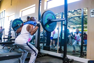 A member of the community making use of the gym equipment at the new sports Centre that forms part of the Saarah Baartman District Academy of Sport. Photo: Stephen Kisbey-Green