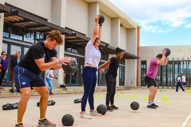 Students from the Rhodes University Human Kinetics and Ergonomics (HKE) department provide a demonstration of the types of activities encouraged at the centre. Photo: Stephen Kisbey-Green