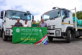 The team responsible for bringing the two new water tankers to Makhanda, from left to right, Fakir Stoffberg (Process Technician), Vuyiseka Nyembezi (Internal Communications Specialist), Ali Sablay (Western Cape Project Manager, Gift of the Givers) and Saadick Abrahams (Quality and Materials Lead). Photo: Stephen Kisbey-Green