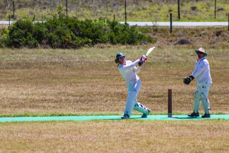 Allister du Blocq playing a textbook sweep for the Shrews against Manley Flats. Photo: Stephen Kisbey-Green