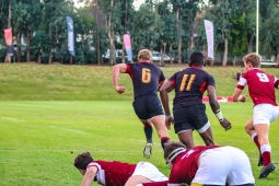 Kingswood's flanker leaves Kearsney defenders in his dust as he sprints up the touch line on day one of the Kingswood College 125 First Team Rugby Festival. Photo: Stephen Kisbey-Green