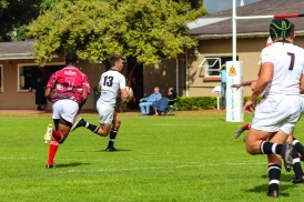 Hilton's outside Centre was on fire against St George's (Zimbabwe) as he ran in a brilliant solo try. Photo: Stephen Kisbey-Green