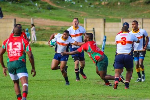 Star of Hope's Prop Siyabulela Silingela attempting to halt a run by Athi Mfazwe. Lock Monray Evans coming close to assist Athi Mfazwe. Photo: Stephen Kisbey-Green