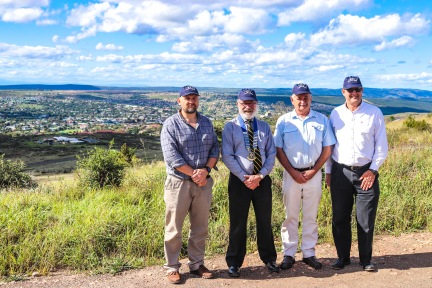 The organising committee of the 2019 GBS Mutual Bank Mountain Drive Half Marathon gathered at the top of Mountain Drive, overlooking Makhanda in the distance as they prepare for the race on 24 August 2019. From left to right: Jaco van Dyk (Albany Saints and Sinners Multisport Club Chairperson), Izak Smuts (President of the Grahamstown Rotary Sunset Club), Tim Dold (Race organiser and member of the Grahamstown Rotary Sunset Club) and Anton Vorster (Managing Director at GBS Mutual Bank). Photo: Stephen Kisbey-Green