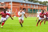 Hilton College looked strong against St George's (Zimbabwe) early on in the Kingswood College 125 First Team Rugby Festival, as they attacked the space with passion and determination. Photo: Stephen Kisbey-Green