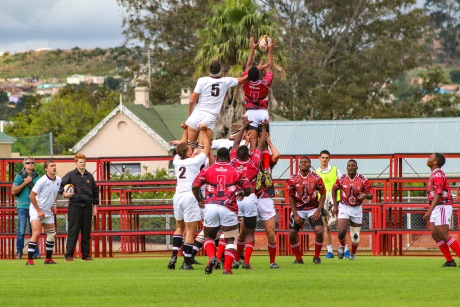 St George's (Zimbabwe) competes for the ball in the air at lineout time on day one of Kingswood's Rugby Festival. Photo: Stephen Kisbey-Green