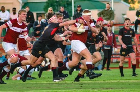 The powerhouse of Kearsney goes on a bulldozing run against Kingswood. Photo: Stephen Kisbey-Green
