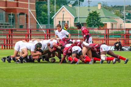 Hilton College and St George's (Zimbabwe) locked horns in the opening clash of the Kingswood College 125 First Team Rugby Festival. Photo: Stephen Kisbey-Green