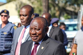 The President of the Republic of South Africa, Cyril Ramaphosa makes his way from the Miki Yilli Stadium to the Noza Indoor Sports Centre, after the Freedom Day celebrations drew to a close. Photo: Stephen Kisbey-Green