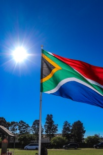 The sun shines over the South African Flag on Freedom Day 2019