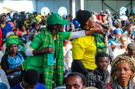 The tents on the field at Miki Yili were filled with ANC supporters and others that came to hear the Presidential address. Photo: Stephen Kisbey-Green