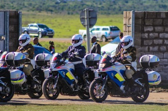 The motorcade which escorted the president of South Africa to Miki Yili Stadium for the 2019 Freedom Day Celebrations. Photo: Stephen Kisbey-Green