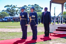 President Cyril Ramaphosa is escorted by his guard of honour after the presidential salute at Miki Yili Stadium. Photo: Stephen Kisbey-Green