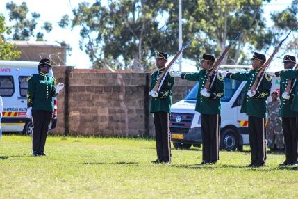 The military parade performing maneuvers as President Cyril Ramaphosa entered the Miki Yili Stadium. Photo: Stephen Kisbey-Green