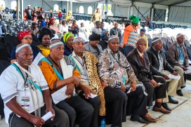 The traditional leaders, chiefs, kings and queens were all present to listen to the presidential address at the 2019 Freedom Day Celebrations at Miki Yili. Photo: Stephen Kisbey-Green