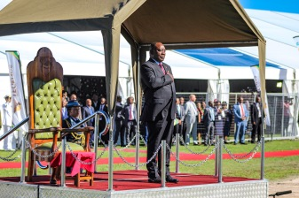 President Cyril Ramaphosa stands at attention while the marching band plays the national anthem. Photo: Stephen Kisbey-Green