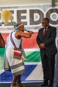 Praise poet gave welcome to President Cyril Ramaphosa ahead of his address. Photo: Stephen Kisbey-Green
