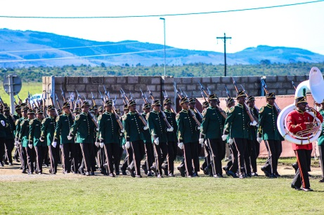 The military parade performing maneuvers as President Cyril Ramaphosa entered the Miki Yili Stadium. Photo: Stephen Kisbey-Green