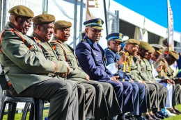 The generals, admirals and other high ranking military officials eagerly await the arrival of the President of South Africa, Cyril Ramaphosa. Photo: Stephen Kisbey-Green