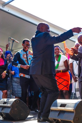 President Cyril Ramaphosa joined the members of the Kwantu Choir after his keynote address. Photo: Stephen Kisbey-Green