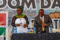 The MEC of Sport, Recreation, Arts and Culture, Bulelwa Tunyiswa (left) and Minister Nathi Mthethwa on stage at the 2019 Freedom Day Celebrations at Miki Yili. Photo: Stephen Kisbey-Green