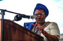The Executive Mayor of the Sarah Baartman District Municipality, Cllr Khunjuzwa Eunice Kekana ended the proceedings of the 2019 Freedom Day Celebrations at Miki Yili with a vote of thanks. Photom Stephen Kisbey-Green