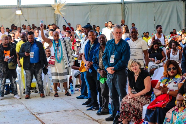The men in the crowd were asked to stand and acknowledge the different leaders, heroes and legends that helped bring about freedom 25 years ago. Photo: Stephen Kisbey-Green