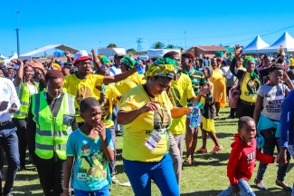 ANC supporters and other members of the public celebrate 25 years of freedom at the 2019 Freedom Day event at Miki Yili. Photo: Stephen Kisbey-Green